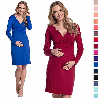 Maternity Pregnancy Long Sleeve Office Cocktail Jersey Dress UK Sizes 6-28 285