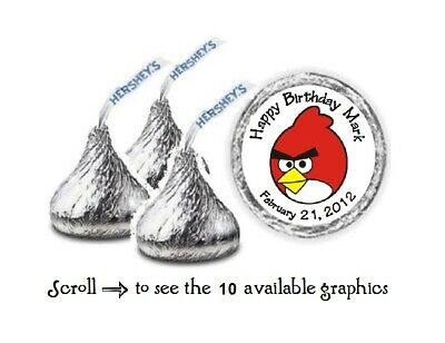 108 Personalized Angry Birds Birthday Hershey Kiss Candy Labels Wrappers