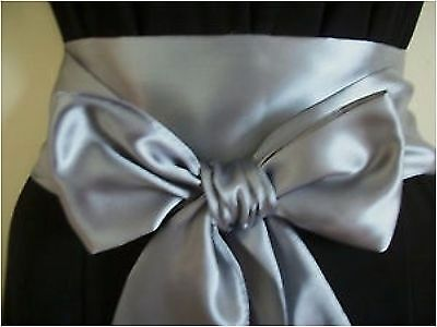 "3.5x100"" DARK SILVER GREY SATIN SASH BELT SELF TIE BOW WEDDING PARTY PROM"