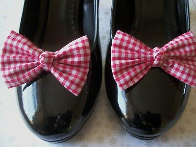 New Pair Red Gingham Cotton Fabric Check Shoe Bow Clips Vintage Style Handmade