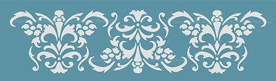 BORDER DAMASK STENCIL for WALL CURTAINS CAKES PATTERN FAUX MURAL  #1025