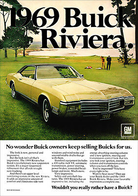 Buick Riviera 69 Retro A3 Poster Print From Classic Advert 1969