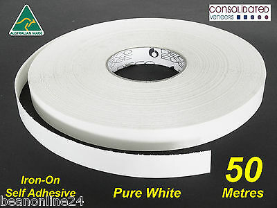 White Melamine Edge Tape 21mm x 50m Pre-Glued Iron On Veneer Edging Laminate
