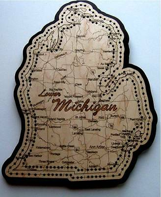 Lower Michigan Shaped Road Map Cribbage Board
