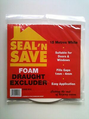 Seal N Save Foam Strip Draught Excluder Self Adhesive 15mtrs Roll White & Brown