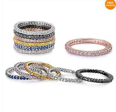Sterling Silver 925 STACKABLE ETERNITY DESIGN CUBIC ZIRCONIA STONES RINGS 2MM