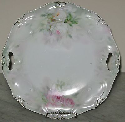 Royal Bayreuth Antique Cake Plate Pink White Roses Display Cabinet Plate