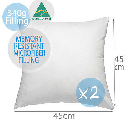 2 x Aus Made Premium Memory Resistant Cushion Inserts Polyester Fibre 45x45CM