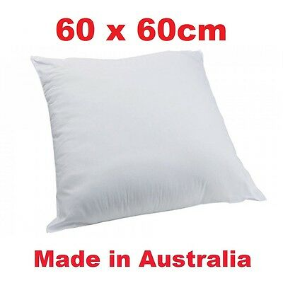 2 x Aus Made New Cushion Inserts Polyester Fibre 60cm x 60cm