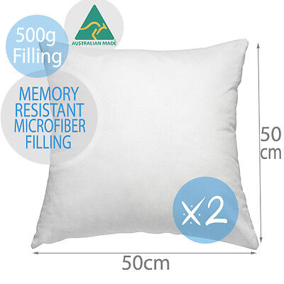 2 x Aus Made Premium Polyester Microfibre Cushion Inserts Pillow 50x50CM