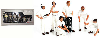 Truescale TSM12AC10 Pit Crew Figurines Classic Style White (Set Of 6) 1/18 Scale