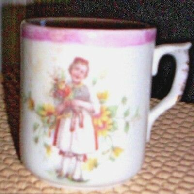 ANTIQUE SMALL BAVARIAN  MUG WITH GIRL HOLDING FLOWERS DESIGN~ Unmarked~