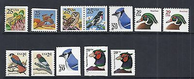 US Animals Birds Definitive Lot, Coils & Booklet Singles, Pheasant Blue Jay MNH*
