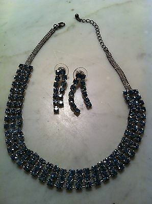 BLUE RHINESTONE NECKLACE PIERCED EARRINGS SET Triple Row DANGLING Prongs