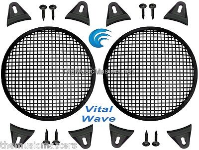 """2X Black 5"""" inch Sub Woofer Speaker Mesh WAFFLE GRILL Protective Covers VWLTW"""