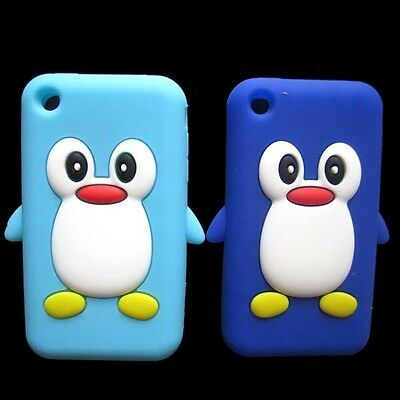 For Iphone 3G 3GS 2pcs Blue Cute Penguin Soft Gel Silicone Case Back Cover Skin