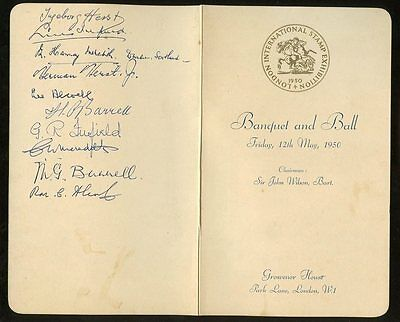 Exhibition 1950 Banquet Signed Menu Alcock Meredith Herst Barrell...grosvenor Ho