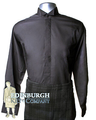 Wing Collar Shirt..black..sizes 14 To 21..perfect With A Kilt Outfit!