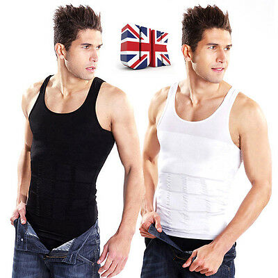 Men Slimming Belly Tummy Vest Fitted Chest Body Shaper Uunderwear Compression UK
