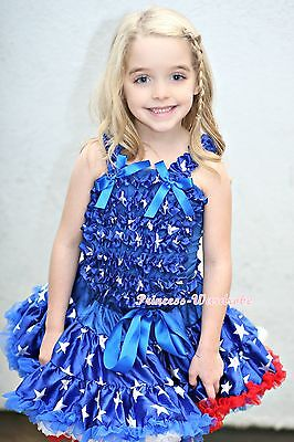 Patriotic Blue Star Print Pettiskirt Skirt Tutu Dress with Ruffles Top Set 1-8Y