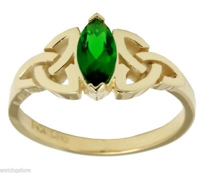 New Ladies 10K or 14K Gold Irish Celtic Trinity Knot Ring with Emerald Stone