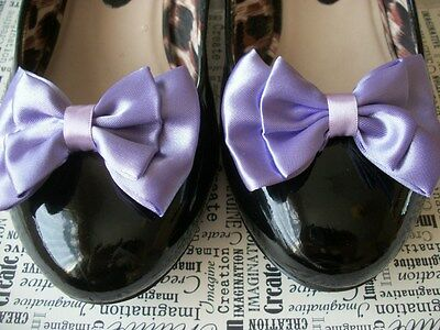1 PAIR LILAC PURPLE SATIN DOUBLE BOW SHOE CLIPS VINTAGE STYLE GLAMOUR 40s 50s