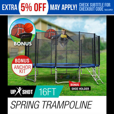 NEW 16ft Round Trampoline FREE Basketball Set+Safety Net+Spring Pad Cover+Ladder