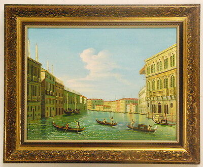 "Antique Style Oil Painting w/ Detailed Wood Frame 21.5""x23.5""- Venetian Gondolas"