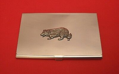 Border Collie Dog Pewter Motif Chrome Plated Card Holder Useful Xmas Gift