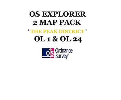 Os Explorer - 2 Map Pack Of The Peak District Ol 1, Ol 24 - Os - Downloads Inc