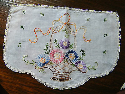 Embroidered Doily Table Linen Off White Flower Basket 13 1/2x 9 1/2 Inch NICE