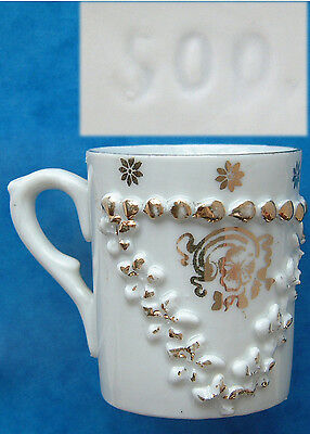 """Coffee Can: White & Gilt with Raised Decoration 2¼"""" Tall"""