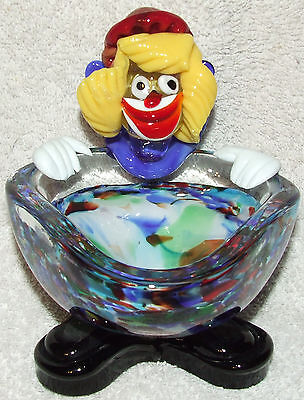 Vintage Murano Italian Art Glass Clown Figurine Bowl - Hand Blown Seguso ?