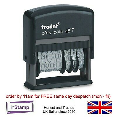 FAXED,PAID,RECEIVED etc RUBBER DATE STAMP MULTIWORD-TRODAT 4817 (80361) SELF INK