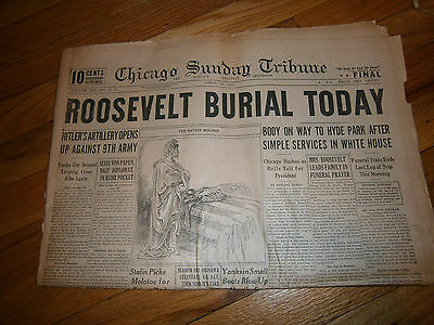 Chicago Sunday Tribune Newspaper WWII April 15 1945 Roosevelt Burial Today