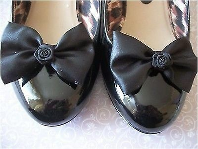 PAIR BLACK  SATIN BOW RIBBON ROSE SHOE CLIPS 40s 50s VINTAGE STYLE GLAMOUR BOWS