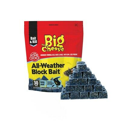Big Cheese 100 All Weather Blocks Poison Block Bait Rat Mouse Mice Rodent STV114