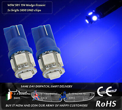 2x LED T10 W5W Xenon Blue HID Wedge Side Lights Parking Bulbs Interior Lamps 12v