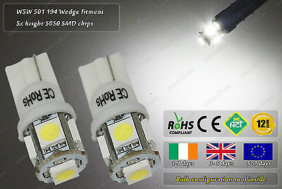 2x T10 LED W5W Xenon White Wedge HID Side Lights Position Car Bike Parking Bulbs