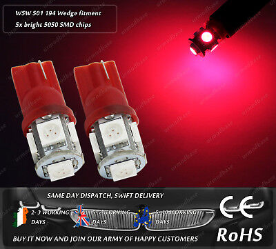 W5W T10 Wedge LED SMD Red Side Lights Parking Marker Interior Dome Car Bulbs 12V