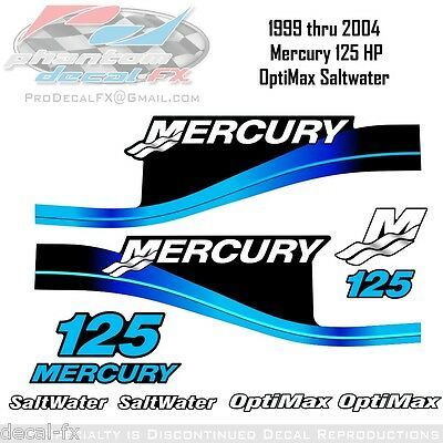 1999-04 Mercury 125HP B2S Blue Decals Two Stroke OptiMax Saltwater 10pc Repro