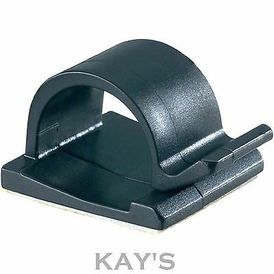 SELF ADHESIVE CABLE CLIPS BLACK OR NATURAL NYLON 16mm, 25mm, 28mm WIRE CLIP