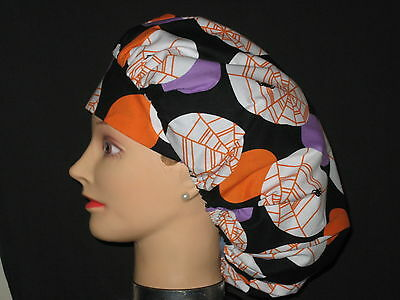 Surgical Scrub Hats/Caps~Halloween~Black with Circles and spiderwebs~