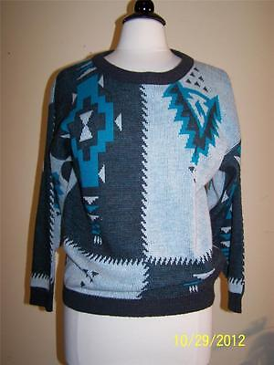 Vtg 80's Cosby Slouch Novelty Abstract Ethnic Southwest Ski Bunny Sweater S
