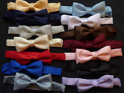 QUALITY BOYS/CHILDRENS SATIN FINISH  BOW TIES ON A BAND -lots of colours