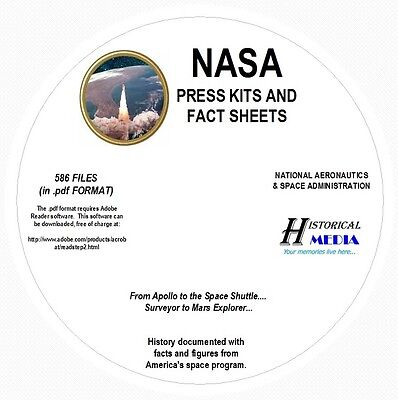 NASA SPACE PRESS KIT AND FACT SHEET COLLECTION - 586 FILES 700MB ALL ON 1 PDF CD