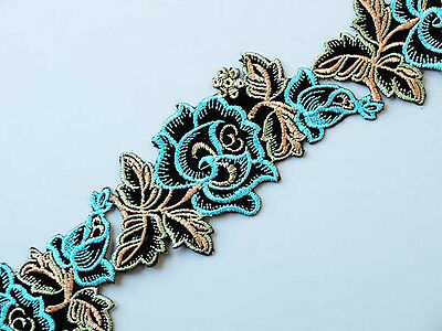 Turquoise Blue Flowers.  Embroidered, Iron-On, Ribbon Trim. 3 Yards