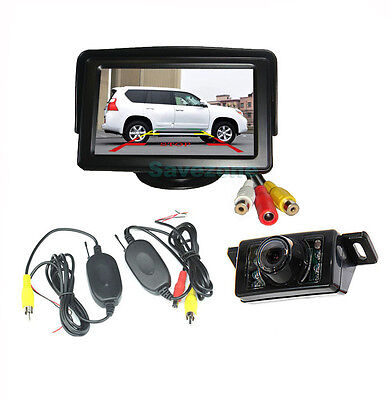 "7LED IR Night Vision Wireless Reverse Camera +4.3"" LCD Monitor Car Rear View Kit"