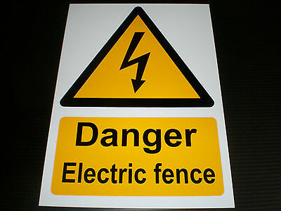 Danger Electric Fence Plastic Sign Or Sticker Choice Of Sizes Caution Warning