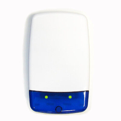 White Dummy/Decoy Alarm Bell Box with Blue Lens and Flashing LED